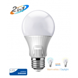 LED Λάμπα Bulb 2 σε 1 / 9W / 3000K & 6500K / E27 / Samsung LED / IC